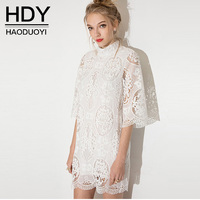 HDY Summer Dress Half Sleeve Ladies Summer Dresses Casual Lace Dress Mini Hollow Out White Lace