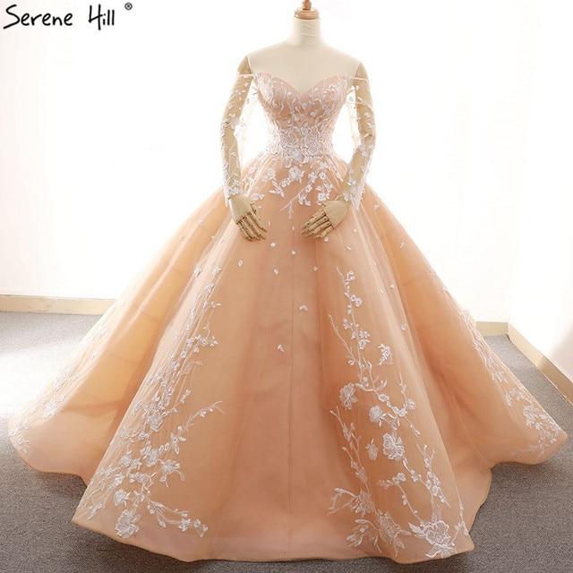 ארוך שרוול סקסי פשוט בציר חתונת שמלת 2020 אפליקציות כבוי כתף אופנה תחרה עד הכלה שמלה 66596