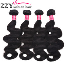 ZZY Fashion Hair Peruvian Body Wave 4 Bundles 8-26 inch 100% Human Hair Grade 8A Non Remy Hair Weave Bundles(China)