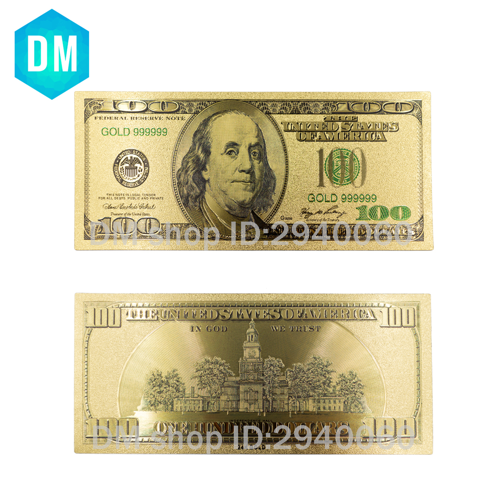 Gold Foil Banknotes Fake Money <font><b>100</b></font> <font><b>Dollars</b></font> <font><b>Bills</b></font> Paper Money Collection Usa Currency Craft Souvenir Vintage Wedding Decoration image