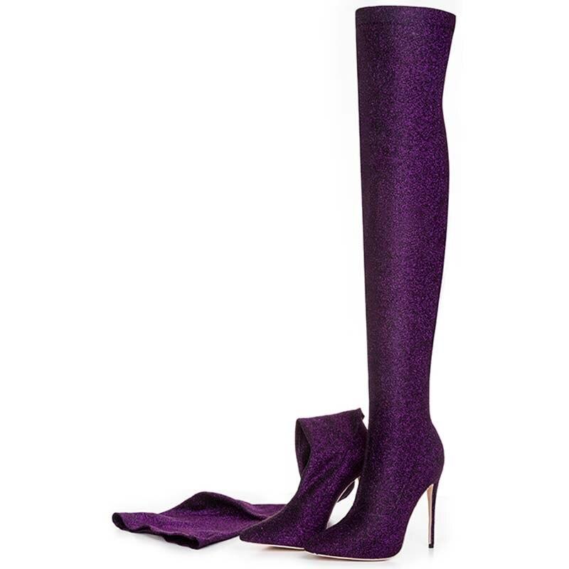 Noir Hiver De Bottes Sur 43 Mince Y0118458q green 12 Chaussures purple Automne Le gold Sexy Taille Grande Longue Talons Femmes 42 Cm red Moto silver blue Mode Black Genou X6qqw7ax