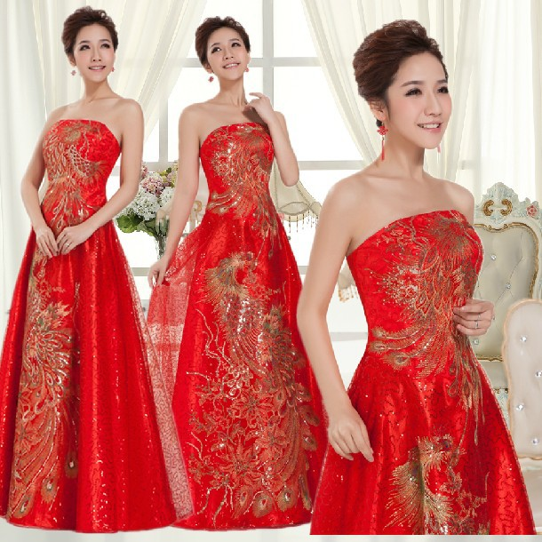 Free Shipping Robe Mariage Red Chinese Bridesmaid Party Dresses Long Bridemaids Fancy Dress Ball Gowns For Special Events 2018