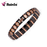 Christmas Gift Fashion Jewelry Magnetic Ceramic Bracelet With Stainless Steel Rose Gold Plated 8 5 ORB