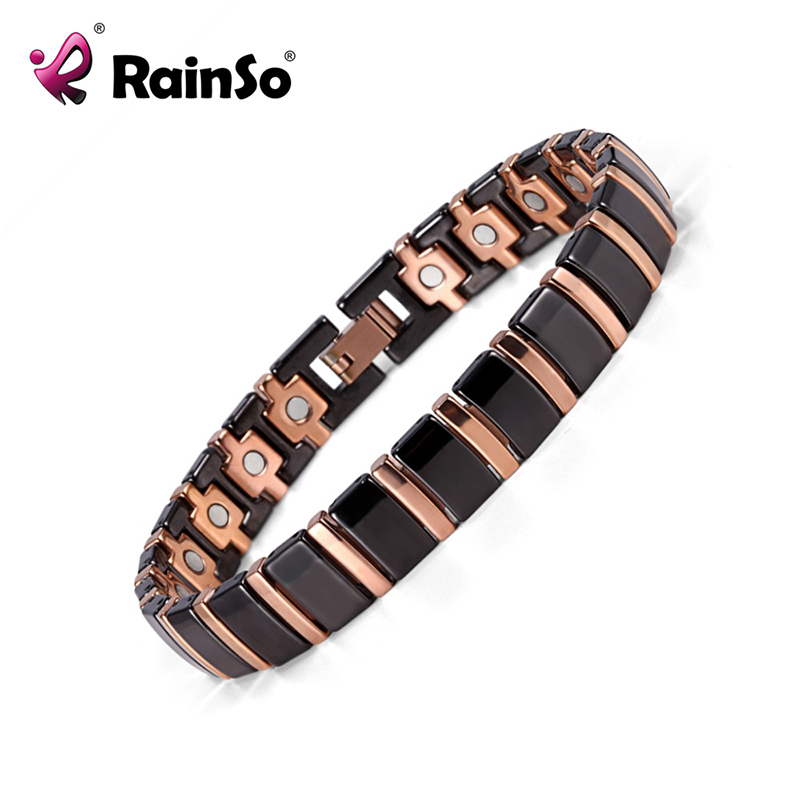 Rainso Bio Energy Magnetic Health Bracelet Men Jewelry Black Ceramic Bracelets Fine Jewellry Bangle Pain Relief Bracelet