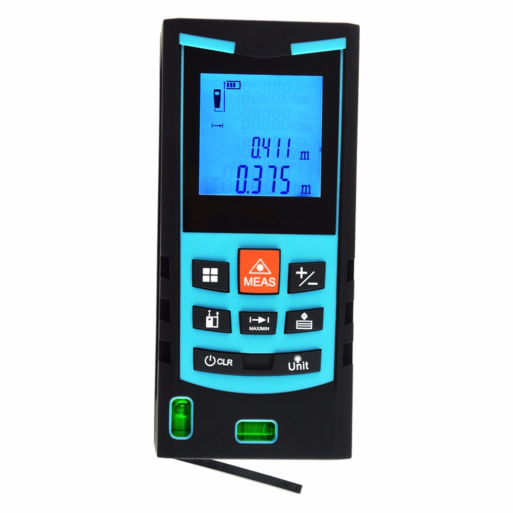 Digital Laser Meter 80M Range Finder with Bubble Level Measure Area Volume Pythagoras +/-1.5mm Accuracy Meter Feet Inches Units free delivery level 24 in lightweight hard plastic 3 bubble triple ruler measure tool