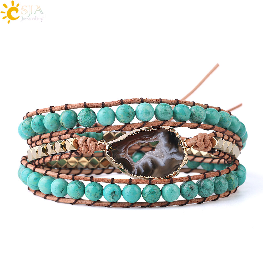 CSJA Natural Turquoises Mala Beads Bracelet Agates Slice Geode Bracelets Charms Boho Wrap Gems Stone Jewellery for Women S225