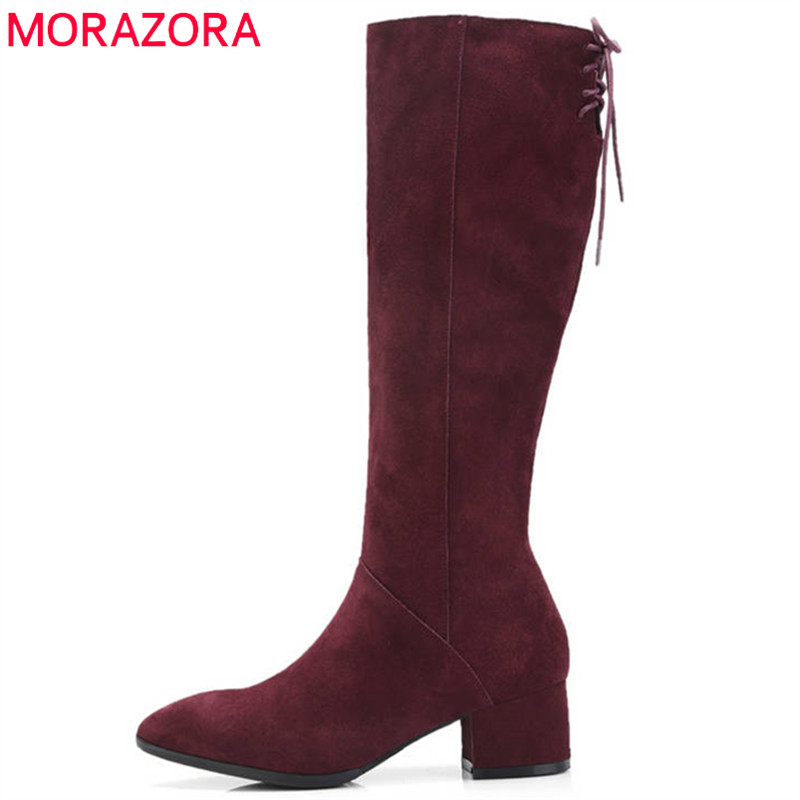 MORAZORA 2018 new arrival suede leather boots women pointed toe autumn winter boots zipper solid colors elegant knee high boots memunia 2018 new arrival knee high boots for women pointed toe suede leather boots zipper lace up autumn boots fashion shoes