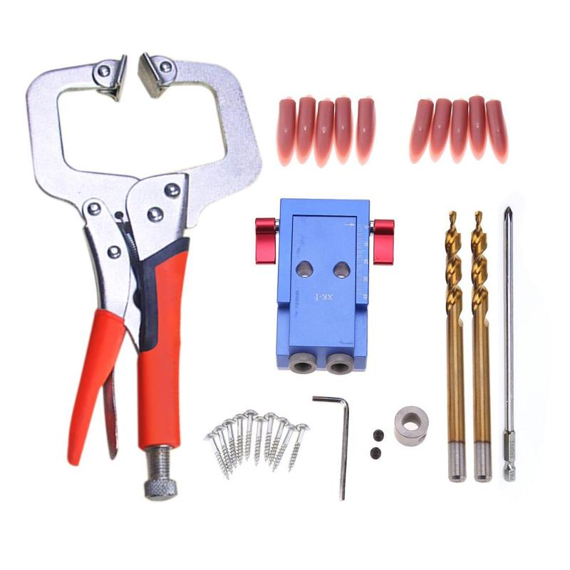 цена на 1 Set Mini Pocket Hole Jig Kit System Screwdriver Step Drill Bit Woodworking Joinery Tool Set For Wood Working Wood drilling