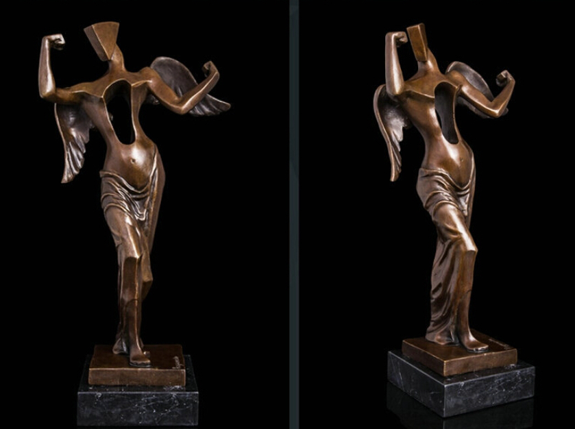 Art Deco Sculpture Abtract Angel Woman No Heart Bronze Statue R0713 B0403