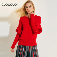 Clocolor Women Sweater 2017 Round Neck Loose Red Long Sleeve Knitwear Autumn Fashion Top Modern Female