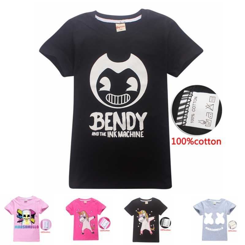69c3dd0c bendy and the ink machine Pure cotton children's clothing cartoon Short  sleeve T-shirt girls