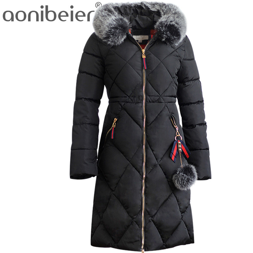 Aonibeier 8 Colors Women Coat 2017 Winter Warm Cotton Padded Jacket Faux Fur Hooded Collar Outwear Long Parkas Female Slim Coat best selling korea natural jade heated cushion tourmaline health care germanium electric heating cushion physical therapy mat
