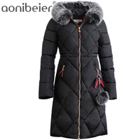 Aonibeier 8 Colors Women Coat 2017 Winter Warm Cotton Padded Jacket Faux Fur Hooded Collar Outdoor
