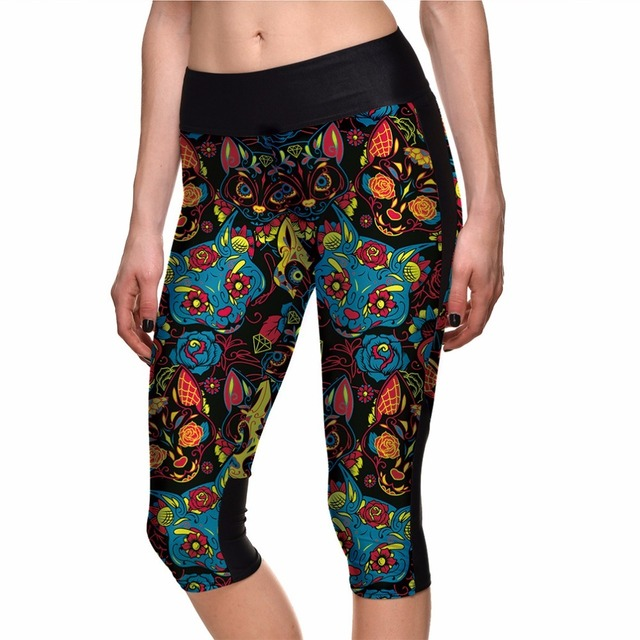 Capri Cat Print Leggings, Sugar Skull
