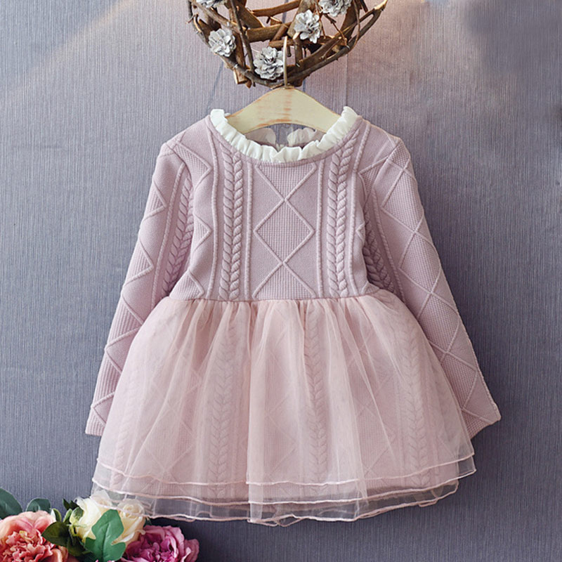 Pink Baby Girls Knitted Spring Autumn Kids lace Tutu Dress Long Sleeve Girl Toddler Princess Clothing Mesh Dresses YH-17 printed baby girls dress spring autumn long sleeve princess dress casual costume cotton girls dresses kids clothes tutu vestidos