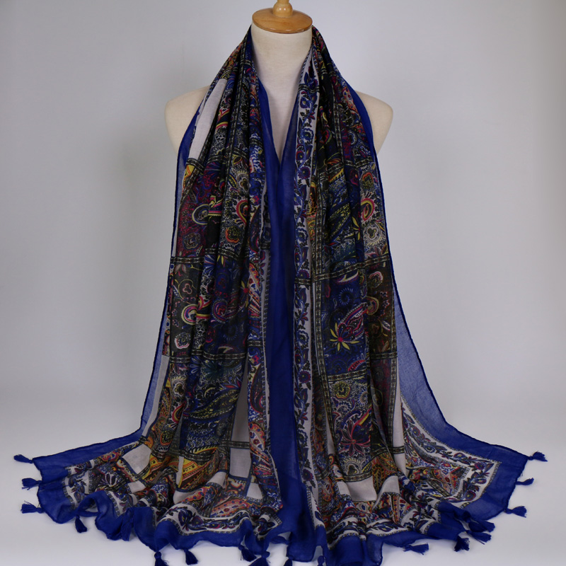 vintage flowers printed voile scarf women bohemian soft long shawl echarpe ladies brand scarves muslim hijab big size 180*100cm
