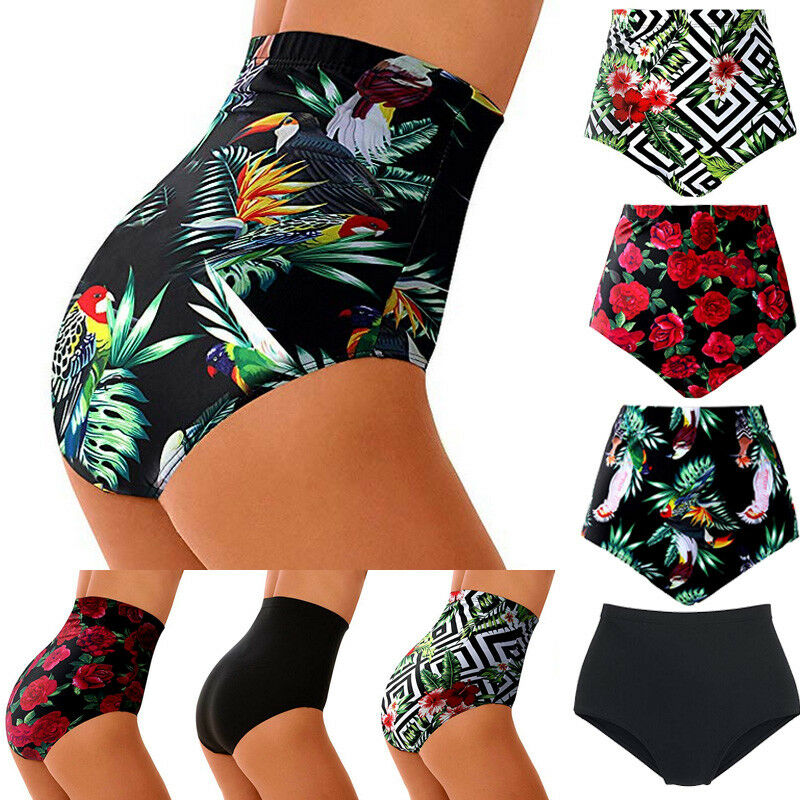 Women's High Waist Swimsuit Bikini Bottoms Tankini Bottom Swim Shorts Plus Size Floral Print Briefs