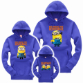 New Autumn Family Matching Clothes Fashion Father Mother and Daughter Son Warm Hoodies Cute Minions Print Family Look Outfit