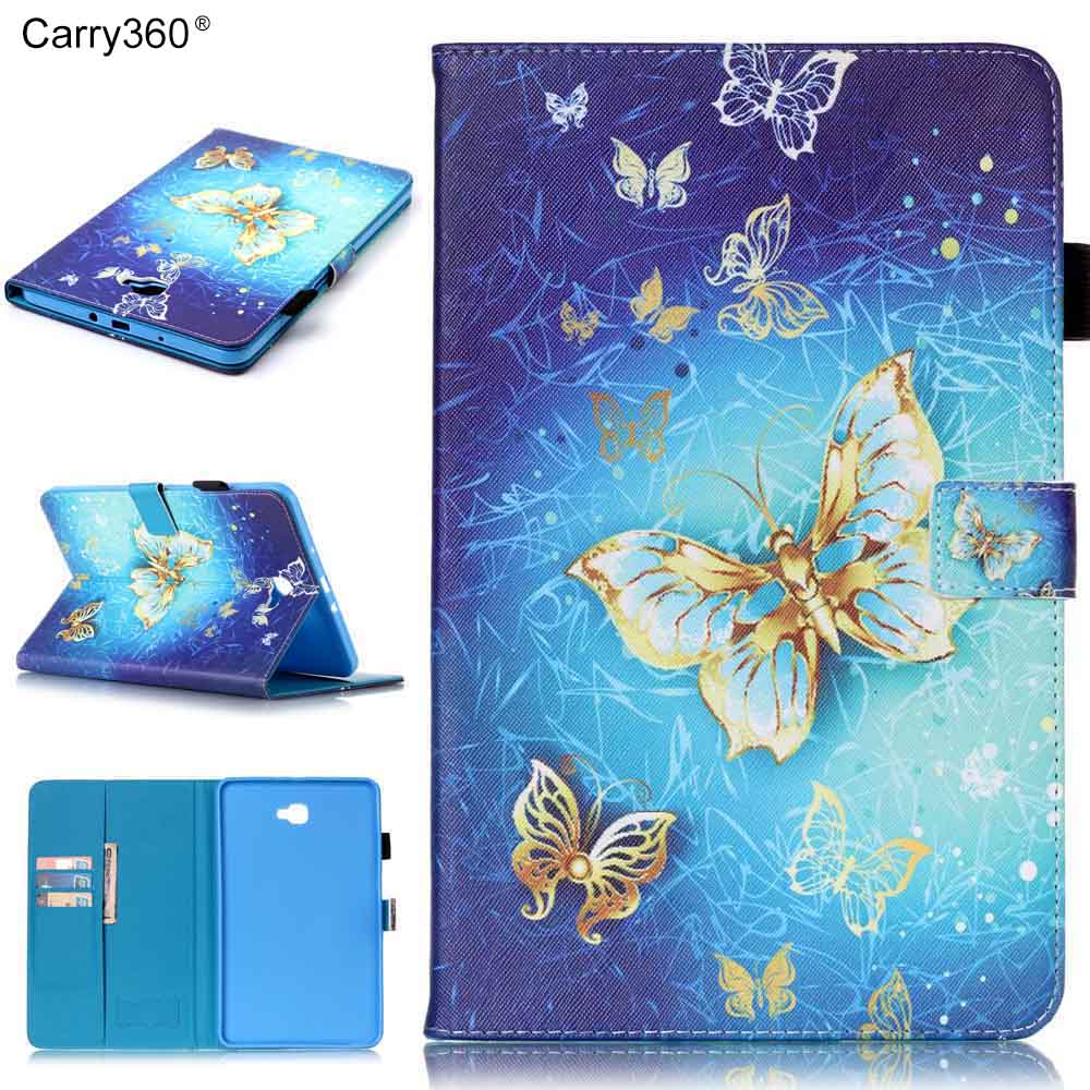 Carry360 Butterfly Skull Flower PU Leather Tablet Cover Holder For Samsung Galaxy Tab A A6 10.1 2016 T585 SM-T580 T580N fashion painted flip pu leather for samsung galaxy tab a 10 1 sm t580 t585 t580n 10 1 inch tablet smart case cover pen film