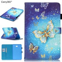 Butterfly Skull Flower Pattern PU Leather Tablet Cover With Card Holder For Samsung Galaxy Tab A