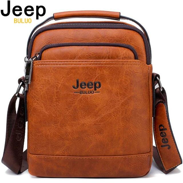 JEEP BULUO Split Leather Men Messenger Bag Hot Sale Male Large Man Fashion Crossbody Shoulder Bags Men's Travel New Handbags