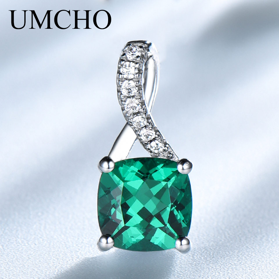 UMCHO Created Emerald Gemstone Pendants For Women Genuine 925 Sterling Silver Charm Pendant Fine Jewelry Not Include The Chain