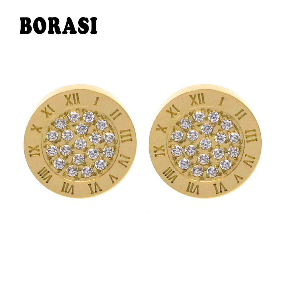 Round Shine AAA Zirconia Earrings For Women Fashion Jewelry Stainless Steel 10MM Diameter Stud Earrings Men brincos Boy Girls polaris pvc 1617go
