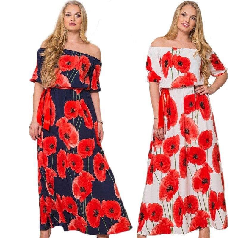 2018 Women Sexy Lotus Print Long floor length Dress Large size off shoulder Slash neck Maxi Dresses Clothing 5XL 6XL Plus Size