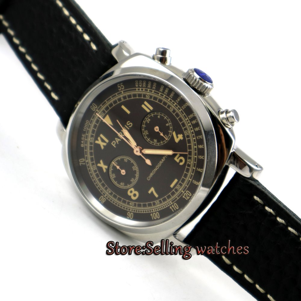 Parnis 44mm Coffee dial Full chronograph luminous hands and marks quartz movement Men's watch цена и фото