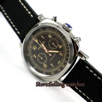 Parnis 44mm Coffee dial Full chronograph luminous hands and marks quartz movement Men's watch