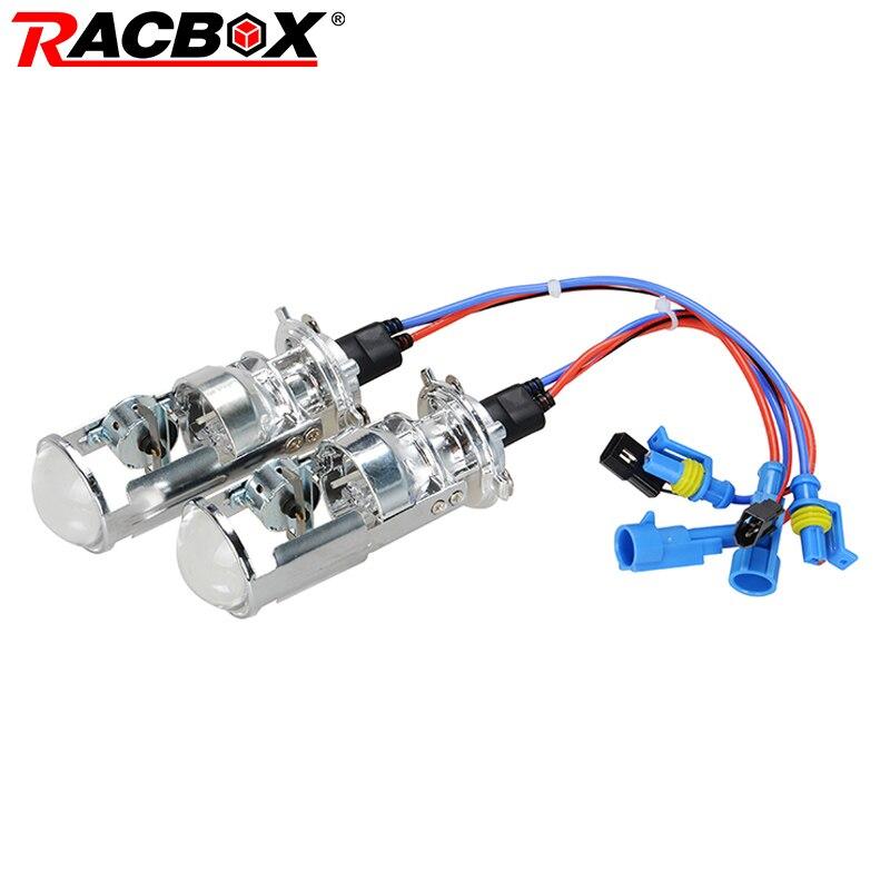 RACBOX Пара 55 Вт H4 LHD RHD Би лампы ксеноновые HID лампы светильник Hi/Lo луч головной светильник 1,5 Микро Мини проектор Объектив 4300K 6000K
