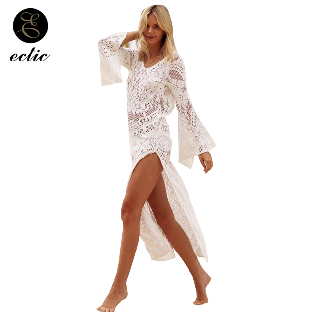 8661aa3a77f2 Trasparente Delle Donne di Vedere Attraverso I Vestiti Sukienka Rave Abito  Bianco Pizzo Spiaggia Veste Femme Ete 2018 Diviso Ender Kleid Sexy Backless