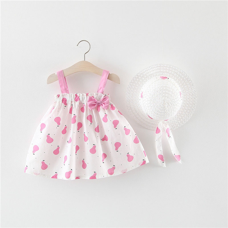6bc8e9cab834c Baby Girls Clothes Summer Baby Dress With Bow Hat 2pcs Clothes Set Newborn  Infant Toddler Dresses Party Wedding Dress Vestidos