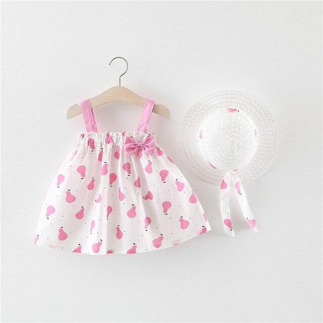 Bé Gái Quần Áo Mùa Hè Bé Ăn Mặc Với Bow Hat 2 pcs Quần Áo Đặt Trẻ Sơ Sinh Trẻ Sơ Sinh Toddler Dresses Đảng Wedding Dress vestidos