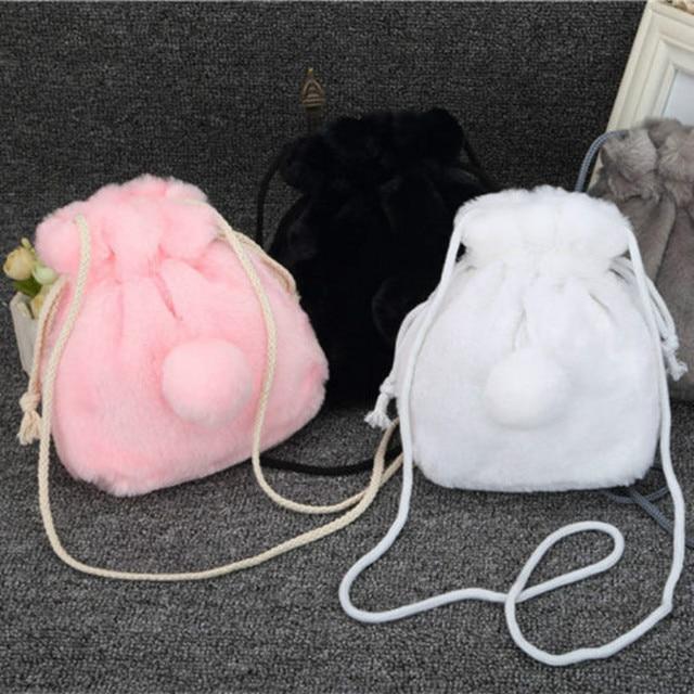 Mini plush bucket drawstring purse bag cute rabbit tail girl winter shoulder bag fashion women handbag