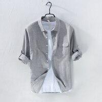 Gray Color Long Sleeved Linen Shirt Men Brand Fashion Men Shirts Turn Down Collar Casual Mens