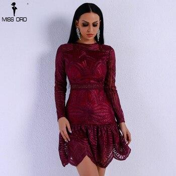 Missord 2018 Women Sexy Elegant Dresses Female Bodycon High Waist O Neck Long Sleeve Party Dress FT8975-2