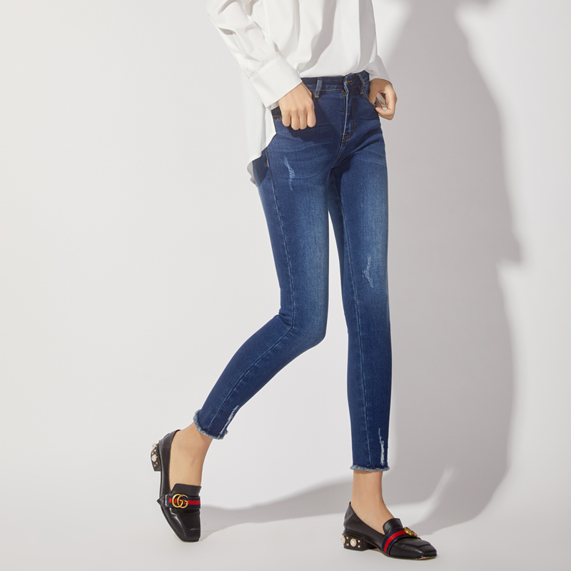 LEIJIJEANS 2019 New spring Stretch Jeans Bleached Ripped Style Plus Size High Street Mid Waist Skinny Pencil Jeans Women 7056