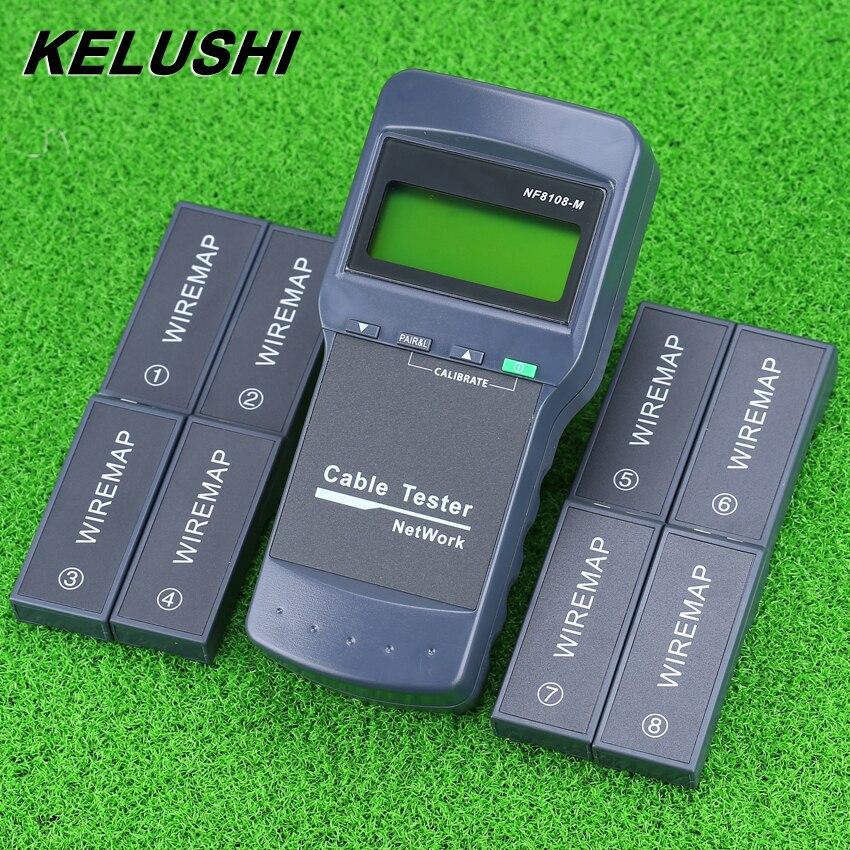 KELUSHI Multifunction Network LAN Phone Cable Tester Meter Cat5 RJ45 Mapper 8 pc Far Test Jack