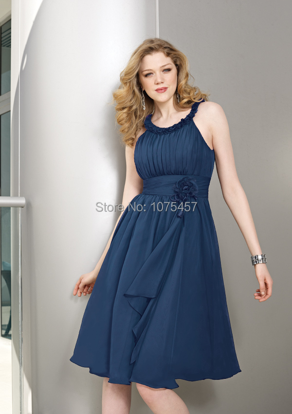 b957dc059 Latest Design Navy Blue Country Western Bridesmaid Dress 2015 Halter Neck Party  Dress A Line Chiffon Vestido De Festa MB636-in Bridesmaid Dresses from ...