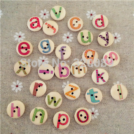 1000pcs 15mm Natural Wooden Letter Buttons 2 Holes Painted Alphabets Wood Sewing Crafts Scrapbooking Knopf Boutons