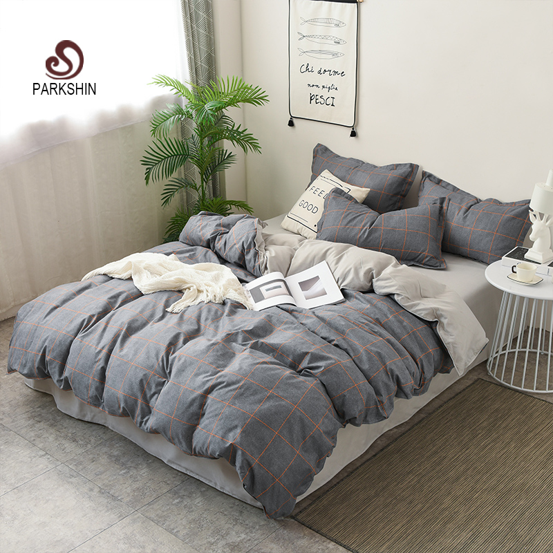 ParkShin Classic Grid Gray Bedding Set Comfortable Duvet Cover Bed Linen Pillowcase Flat Sheet Single Double Queen King Size