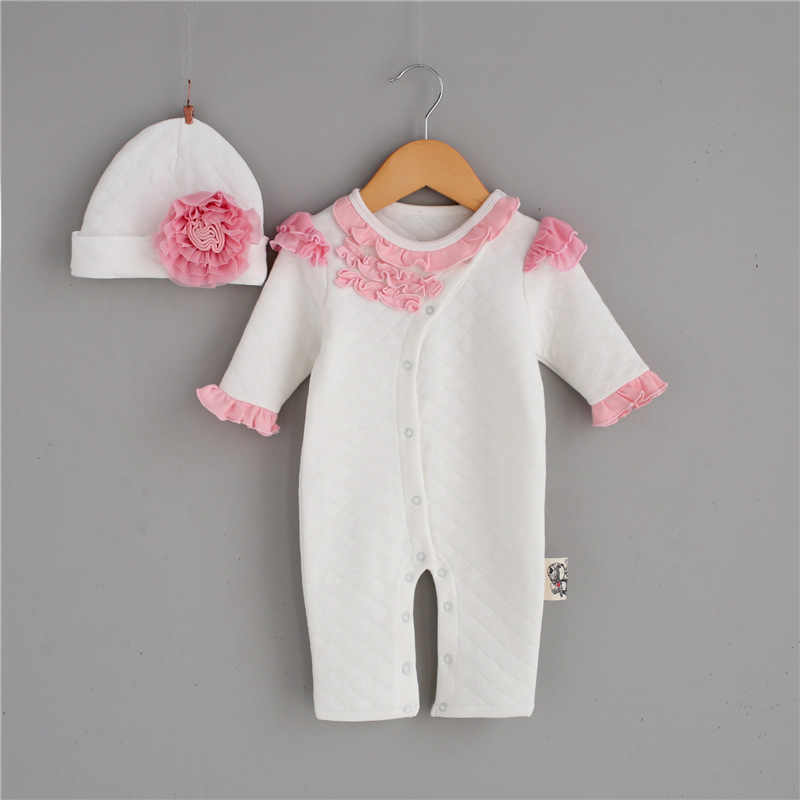 Autumn Winter Baby Girl Rompers Lace Long Sleeves Infant Jumpsuit Baby Girl Roupas Thicken Newborn Clothing + Princess Hat baby romper thicken hat 100% cotton 2017 autumn lucky red full sleeve girl boy baby clothing newborn infant jumpsuit rompers