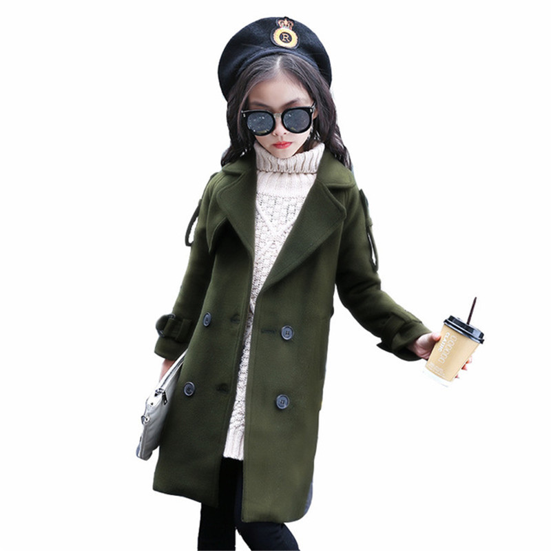 Autumn Winter Girls Double Row Buckle Woolen Coats Jackets Kids Children Double Breasted Casual Clothes Teenage Outerwear P58Autumn Winter Girls Double Row Buckle Woolen Coats Jackets Kids Children Double Breasted Casual Clothes Teenage Outerwear P58