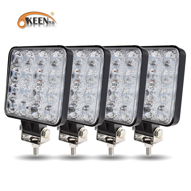 OKEEN Official Big Size 4Pcs 48W Offroad Car 4WD Truck Led Light Bar 12V 24V Spot LED Beam LED Work Light For Offroad Tractor