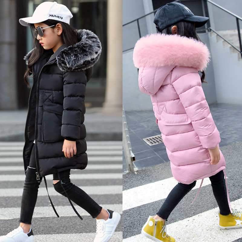 2018 New Girls Long Padded Jacket kids Winter Coat Kids Warm Thickening Hooded down Coats For