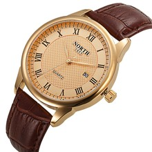 Men Dress Watch North Brand TS Luxury Gold Male Quartz Watch Genuine Leather Waterproof Casual Business Wristwatch for Men 1853