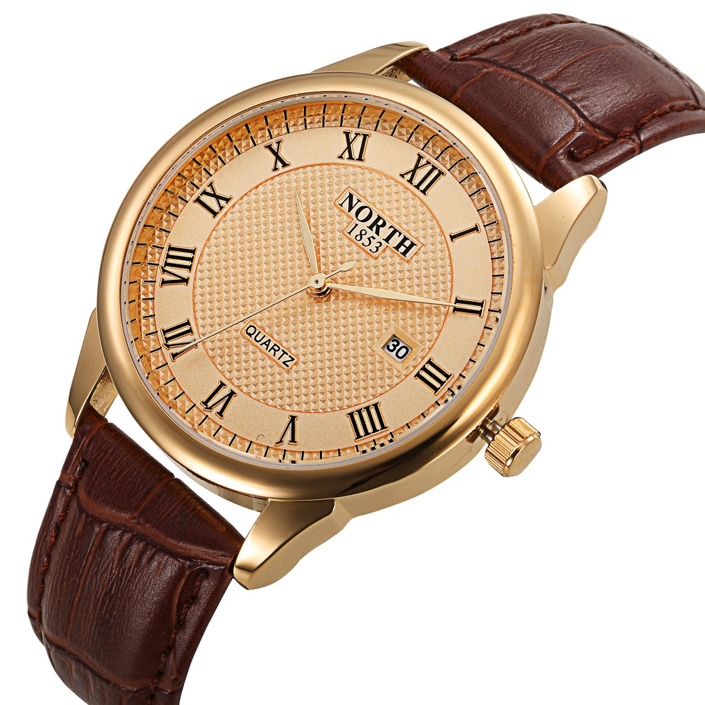 Men Casual Dress Watch North Brand Gold Quartz Man Watch Genuine Leather Simple Elegant Business Wristwatch Date 1853 Waterproof famous brand binger watches fashion brown leather strap mechanical casual watch gold date men dress wristwatch 200m waterproof