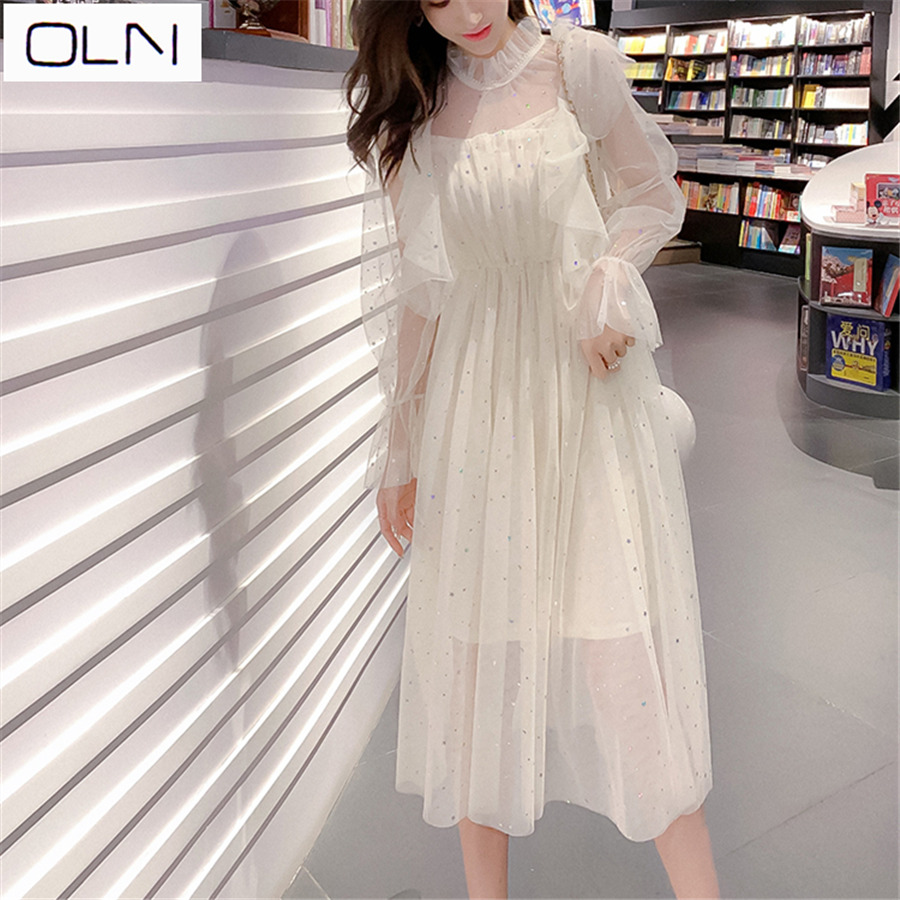 Vestidow New Arival Dress Mesh ONL Spring And Summer New Five-pointed Star Sequin Mesh Two-piece Dress
