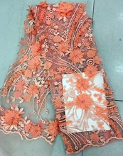 Baby Pink African Lace Fabric, 3D Applique For Wedding, Bridal Dress Tulle Fabric
